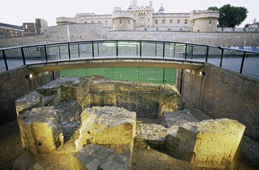 England,London,Tower Hill,Ruins of 13th Century Guard House Guarding Access to the City of London from the East : Stock Photo