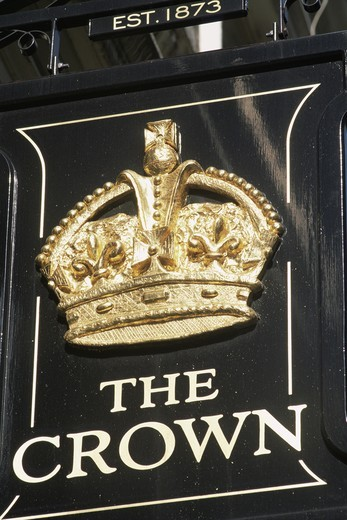 England,London,The Crown Pub Sign : Stock Photo