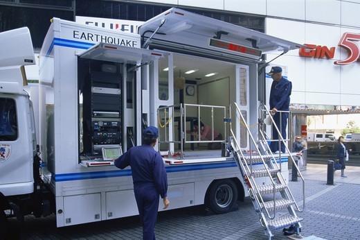 Japan,Tokyo,Ginza,Earthquake Simulator Truck for Public Earthquake Awareness Training : Stock Photo