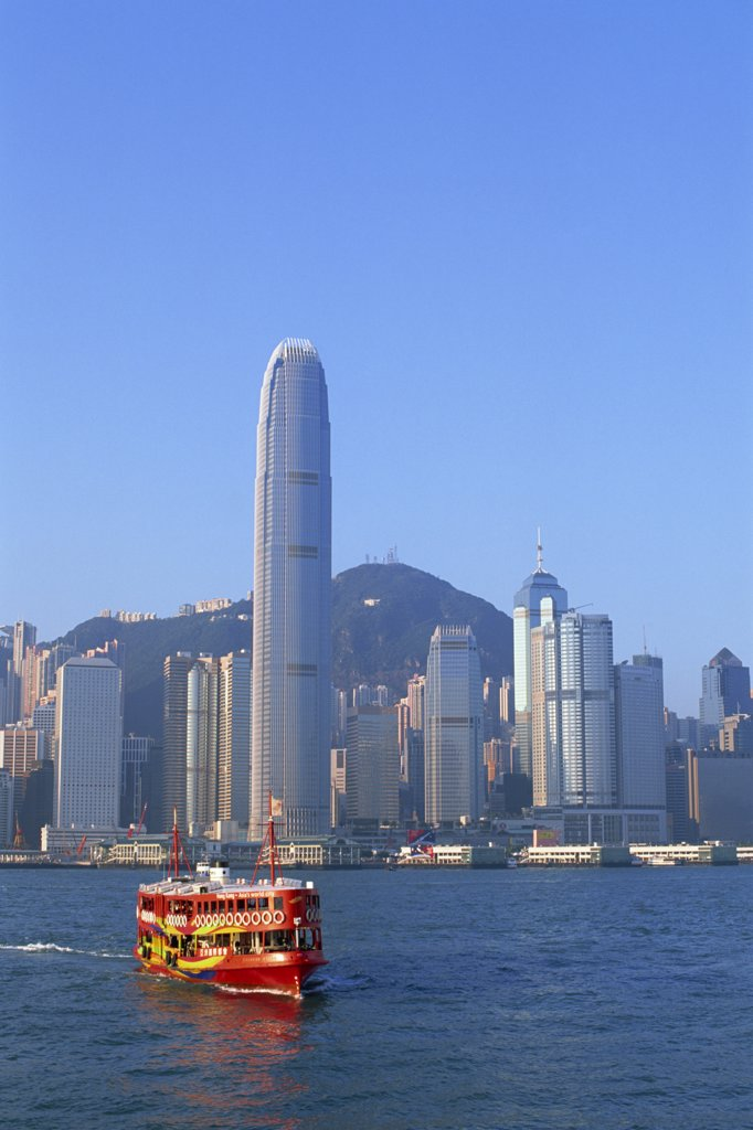 China,Hong Kong,Star Ferry and City Skyline : Stock Photo