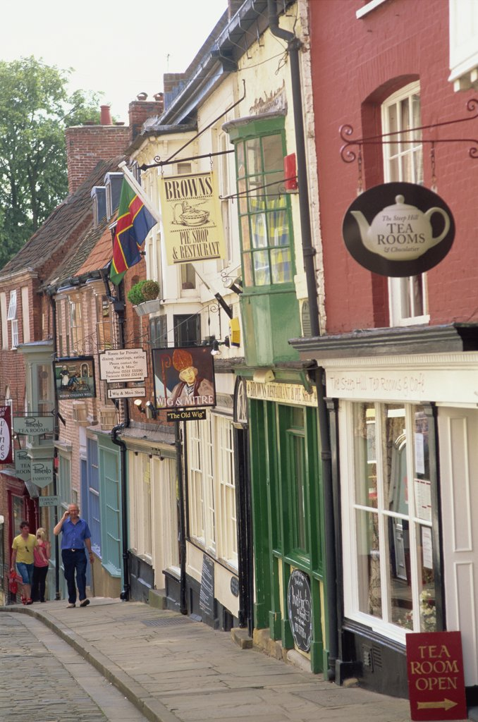 Stock Photo: 1606-144549 England,Lincolnshire,Lincoln,Shops in Steep Hill