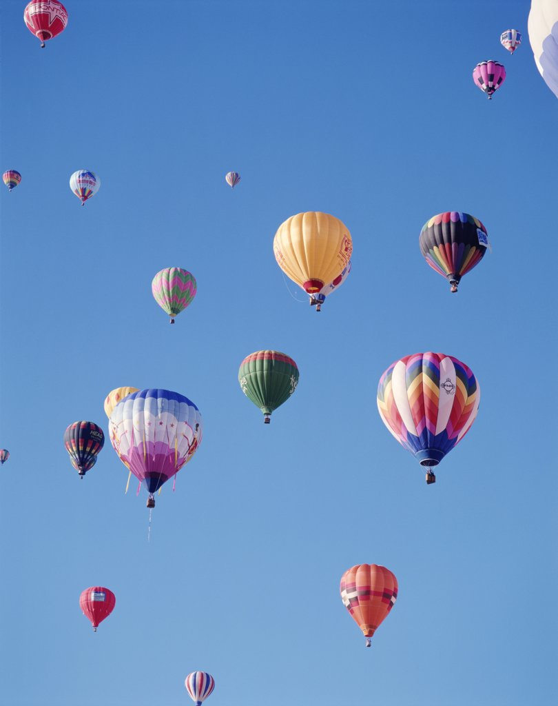 USA, New Mexico, Albuquerque, Colourful Hot Air Balloons in Sky : Stock Photo