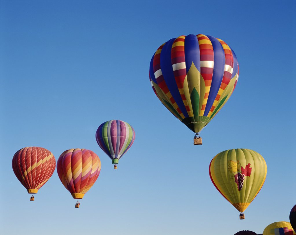 Stock Photo: 1606-145157 USA, New Mexico, Albuquerque, Colourful Hot Air Balloons in Sky