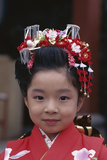 Stock Photo: 1606-146395 Japan, Honshu, Tokyo, Festival for Seven, Five, Three Year Old Children (Shichi-go-san) / Girl Dressed in Kimono