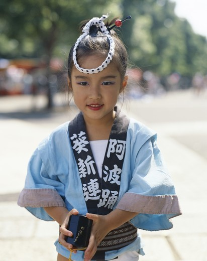 Japan, Honshu, Kyoto, Young Girl / Child Dressed in Yukata / Traditional Dress : Stock Photo