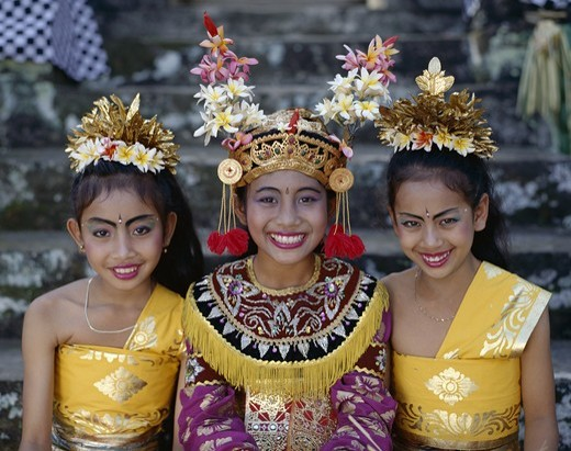 Indonesia, Bali, Legong Dancers / Girls Dressed in Traditional Dancing Costume : Stock Photo