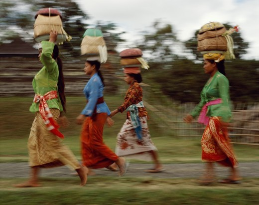 Stock Photo: 1606-146749 Indonesia, Bali, Women Carrying Offerings to Temple Festival (Odalan)