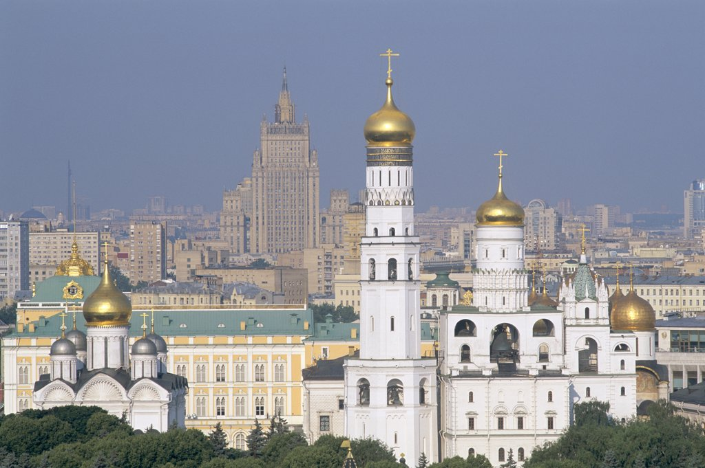 Russia, Moscow, Kremlin & City Skyline : Stock Photo