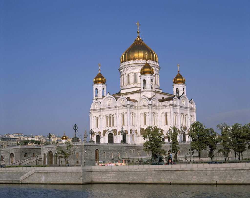 Russia, Moscow, Church of Christ The Saviour & Moskva River : Stock Photo