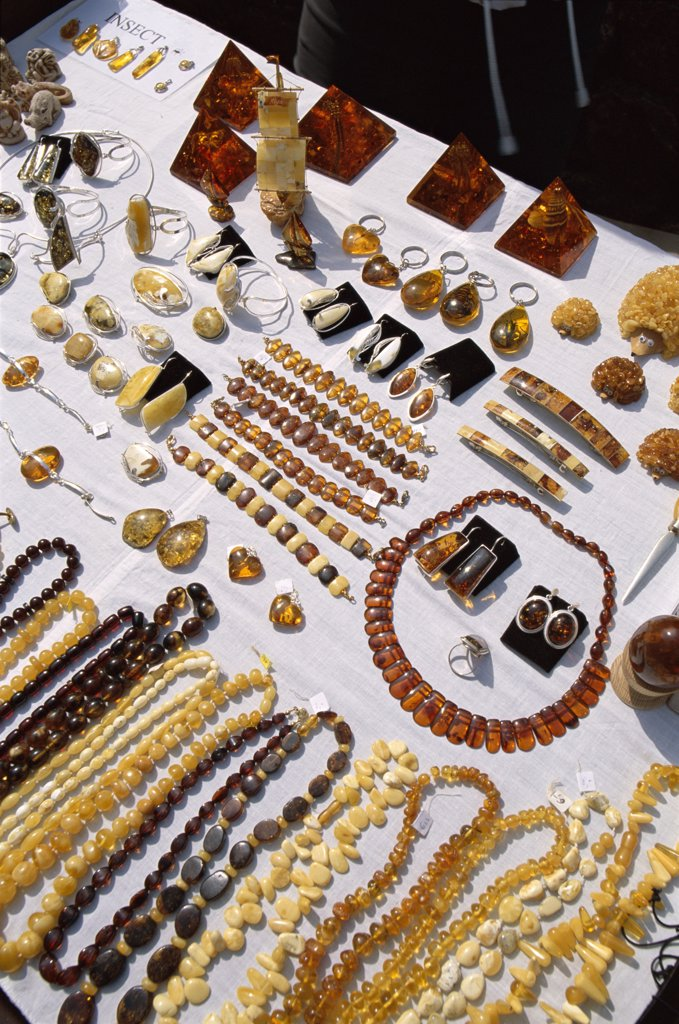 Latvia, Riga, Amber Display / Necklaces & Other Articles : Stock Photo