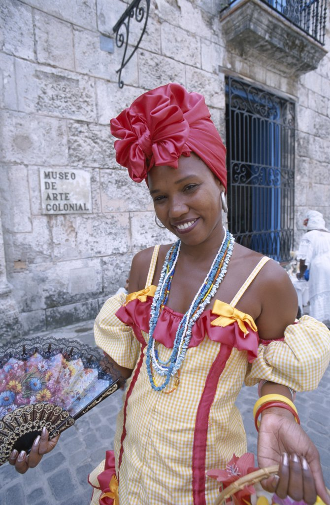 Cuba, Havana (Habana), Woman Dressed in Traditional Costume / Colonial Dress : Stock Photo