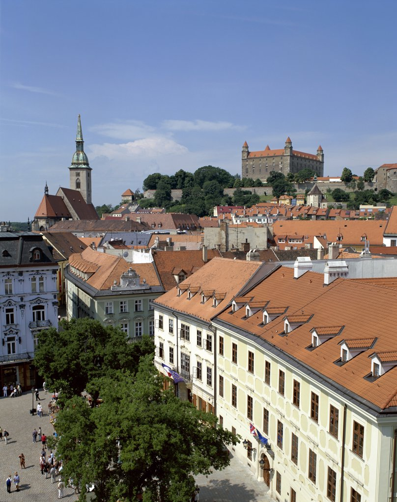 Stock Photo: 1606-147934 Slovakia, Bratislavia, Old City Rooftops & Castle