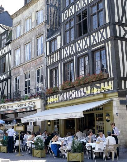 France, Normandy, Rouen, Place du Vieux-Marche / Outdoor Cafes & Building Facade : Stock Photo