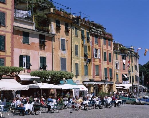Italy, Liguria, Portofino, Pastel Coloured Houses & Outdoor Cafes : Stock Photo
