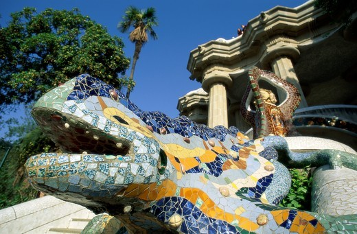 Spain, Catalonia, Barcelona, Guell Park (Parc Guell) / by Antoni Gaudi : Stock Photo