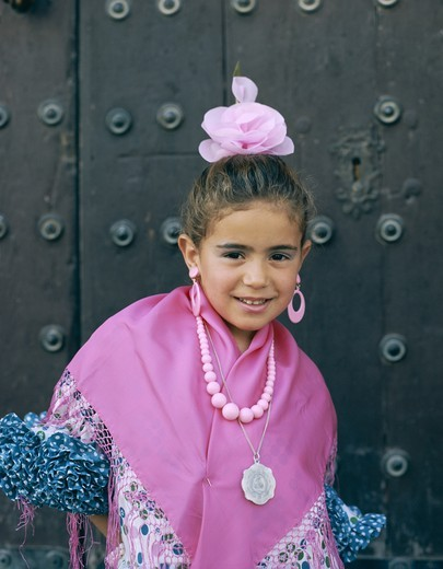 Spain, Andalusia, Jerez de la Frontera, Fiesta / Horse Fair / Girl Dressed in Andalucian Costume : Stock Photo