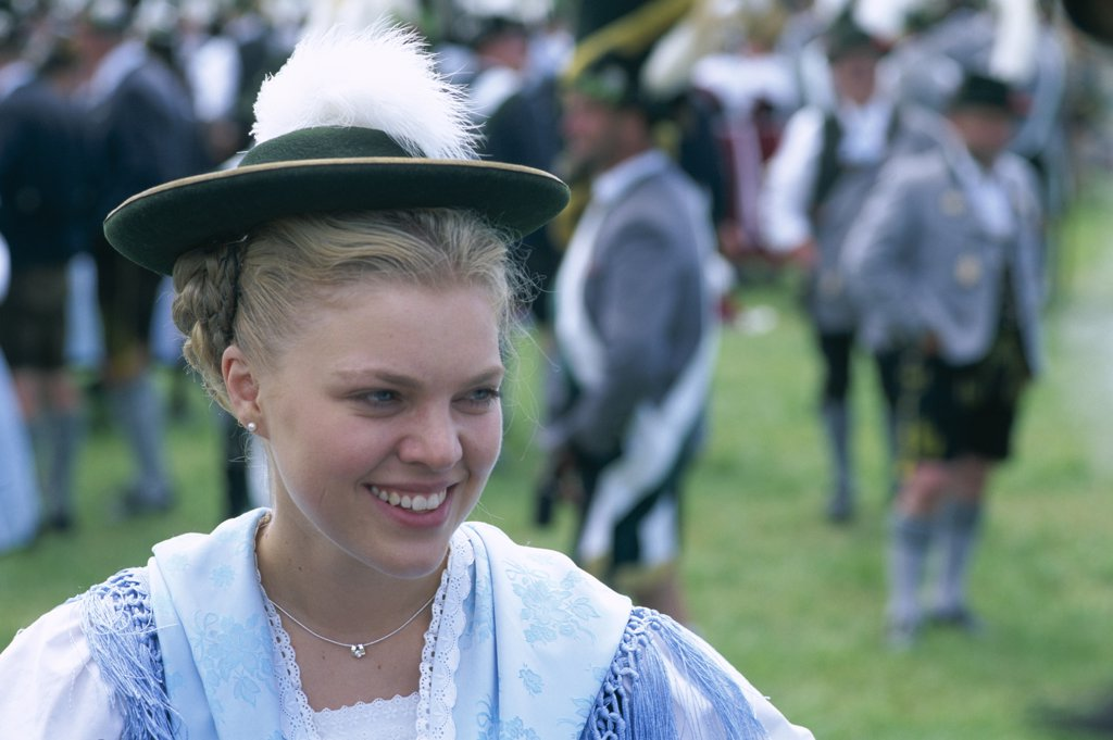 Stock Photo: 1606-148812 Germany, Baveria, Rosenheim, Baverian Festival / Woman in Baverian Costume / Dress