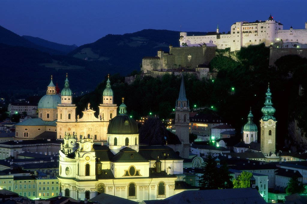 Austria, Salzburg, City Skyline / Cathedral & Castle / Night View : Stock Photo
