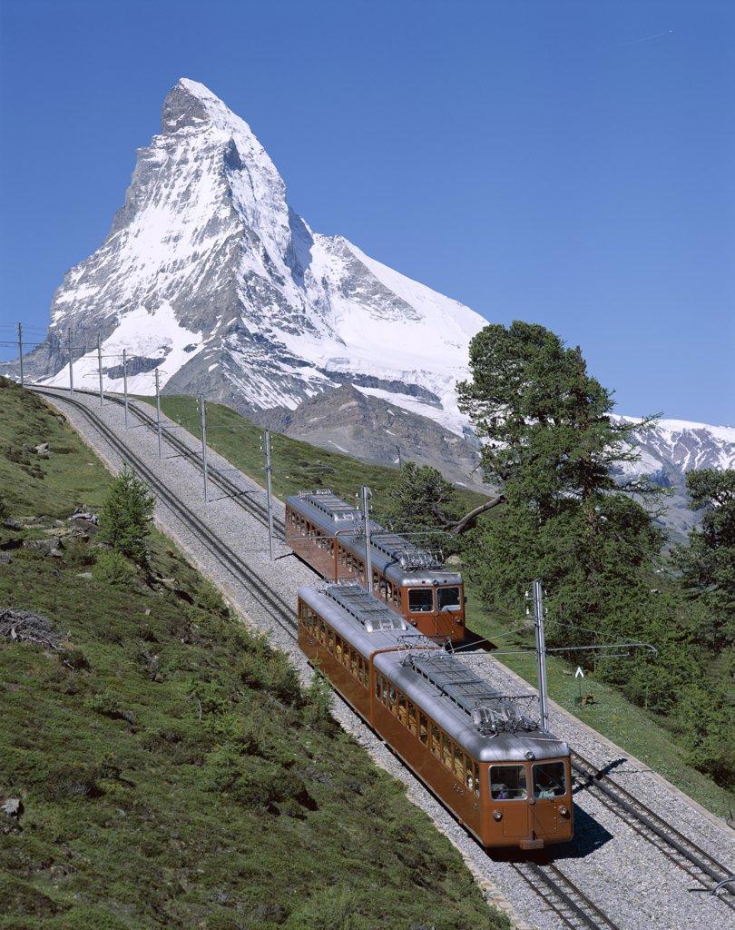 Switzerland, Alps, Zermatt, Matterhorn & Alpine Railway Trains : Stock Photo