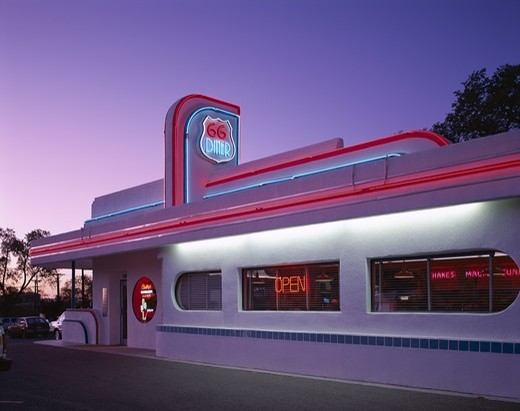 USA, New Mexico, Albuquerque, Route 66 / Route 66 Diner / Night View : Stock Photo