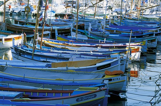 "France, Provence-Alpes Côte d'Azur, Alpes maritimes, Nice, old harbor, little boats ""Pointus"" : Stock Photo"