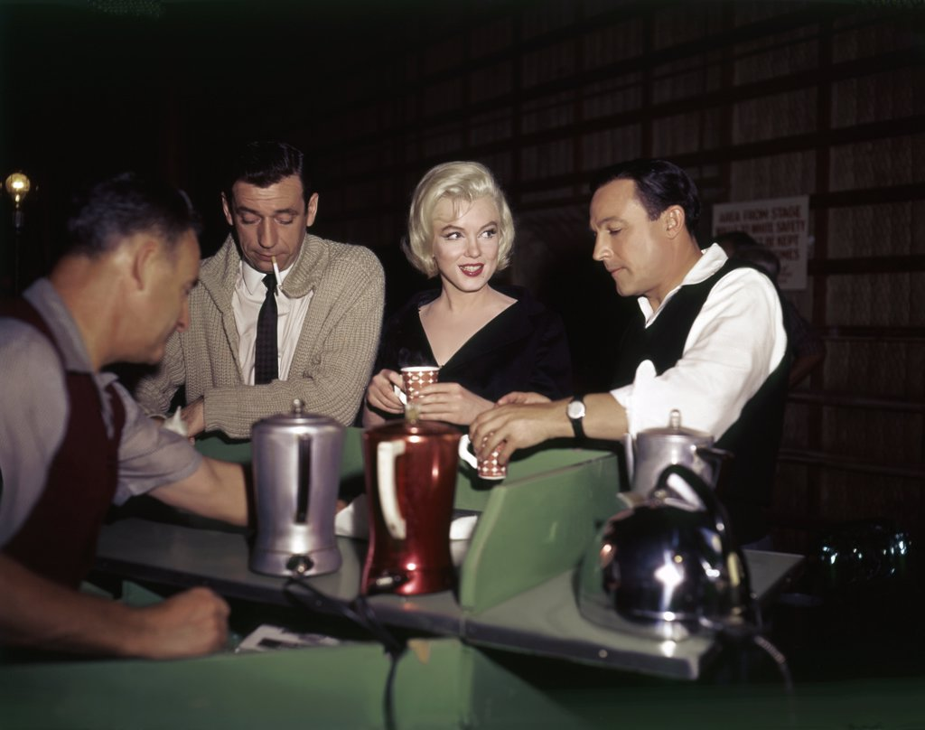 Stock Photo: 1606-151923 On the set, Yves Montand, Marilyn Monroe, Gene Kelly / Let's Make Love 1960 directed by George Cukor