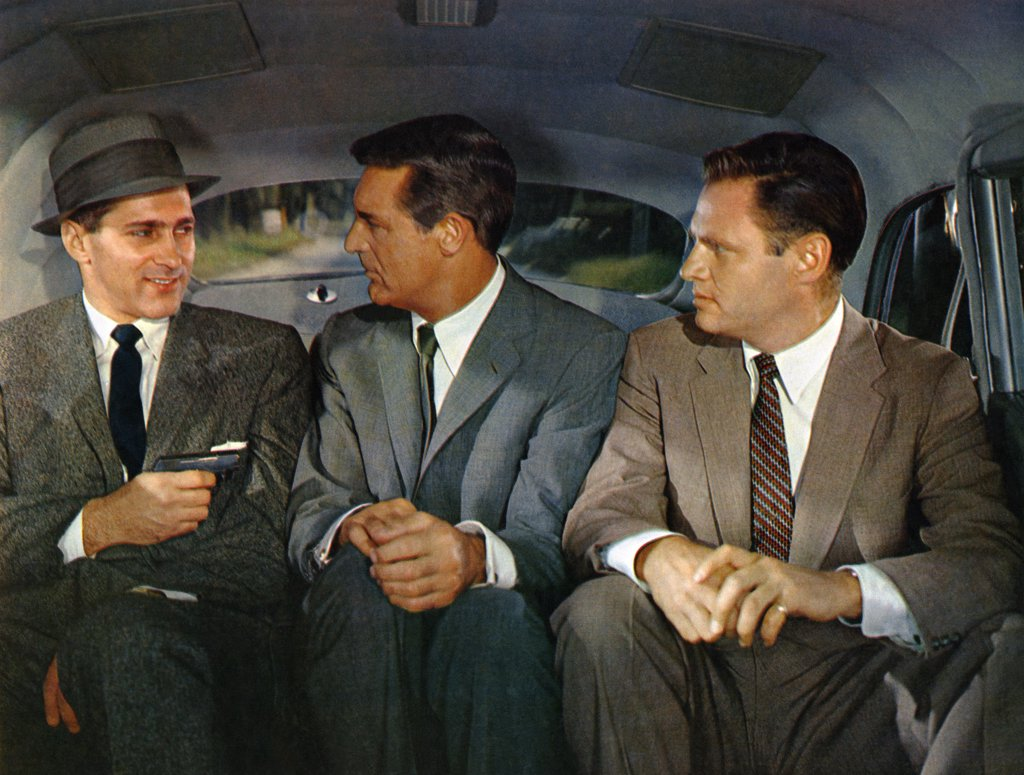 Stock Photo: 1606-152086 Robert Ellenstein, Cary Grant, Adam Williams / North by Northwest 1959 directed by Alfred Hitchcock