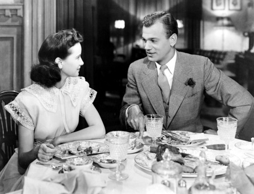 Joseph Cotten / Teresa Wright / Shadow Of A Doubt 1943 directed by Alfred Hitchcock : Stock Photo