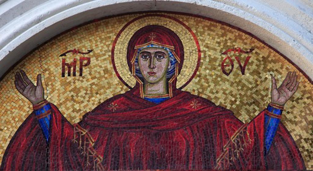 Montenegro, Budva, Old Town, mosaic, religious image, : Stock Photo