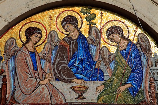 Stock Photo: 1606-154483 Montenegro, Budva, Old Town, mosaic, religious image, Holy Trinity Church,