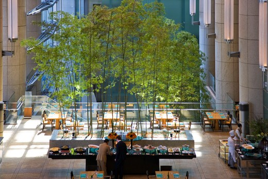 The spacious sunny atrium of the Mandarin Oriental Tokyo Hotel has a ...