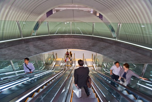 Stock Photo: 1606-156468 An elaborate system of escalators moves passengers inside the new metro subway station (dubbed Chichusen, Underground Spaceship, by its designer, the renowned Japanese architect Tadao Ando) for the recently opened Fukutoshin Line in the Shibuya Dist [...]