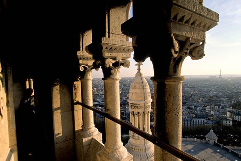France, Paris, the dome of Sacre Coeur, view of Paris : Stock Photo