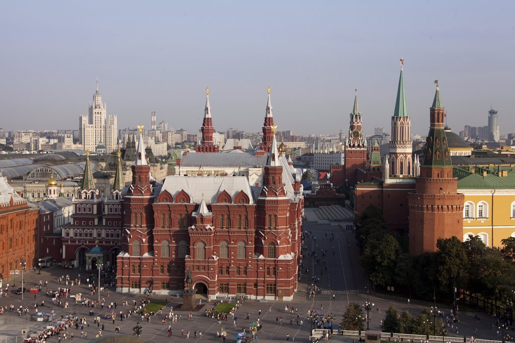 Stock Photo: 1606-156877 Rusia , Moscow City, History Museum Bldg., Red Square and the Kremlin