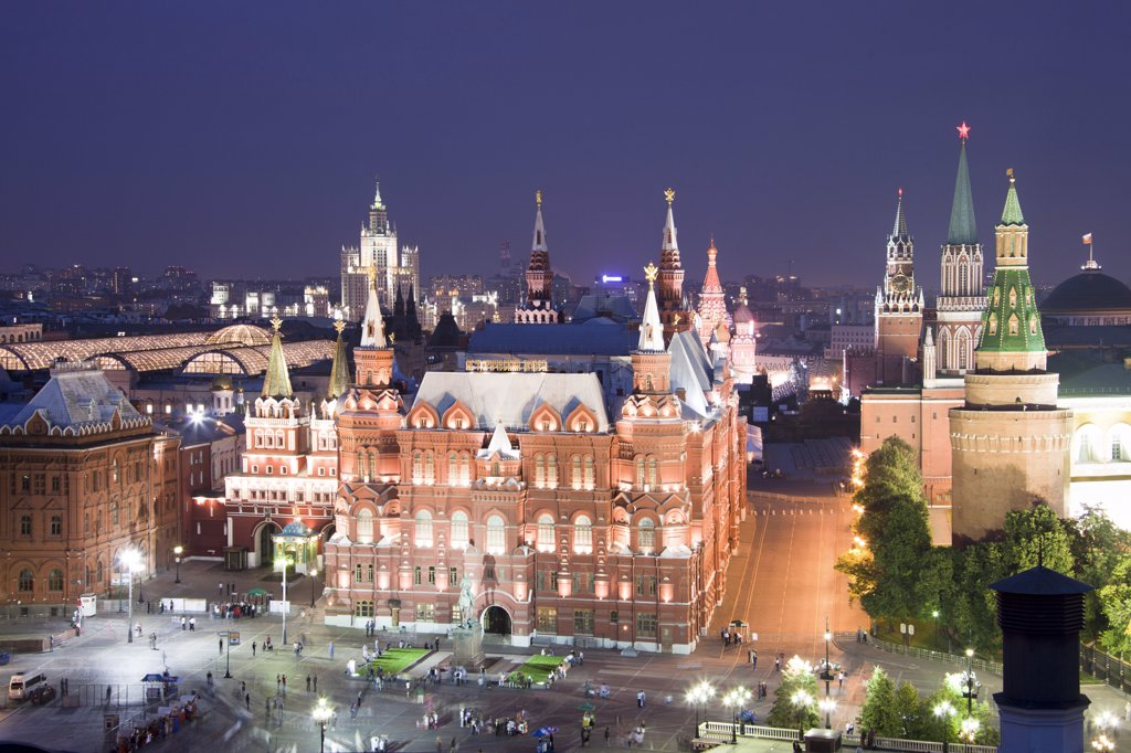 Stock Photo: 1606-156932 Rusia , Moscow City, The Kremlin, San Basil«s Church and History Museum Skyline