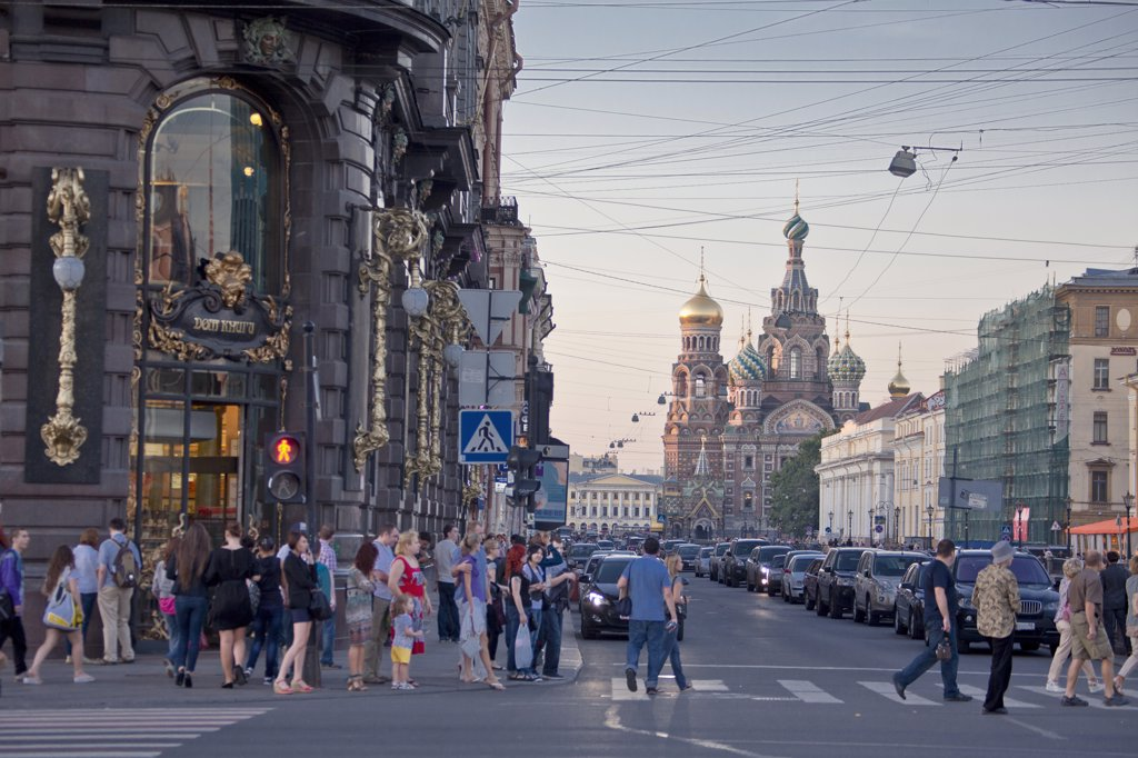 Stock Photo: 1606-157011 Rusia , San Petersburg City, Nevsky Prospect Avenue. and Church of the Savior on Spilled Blood