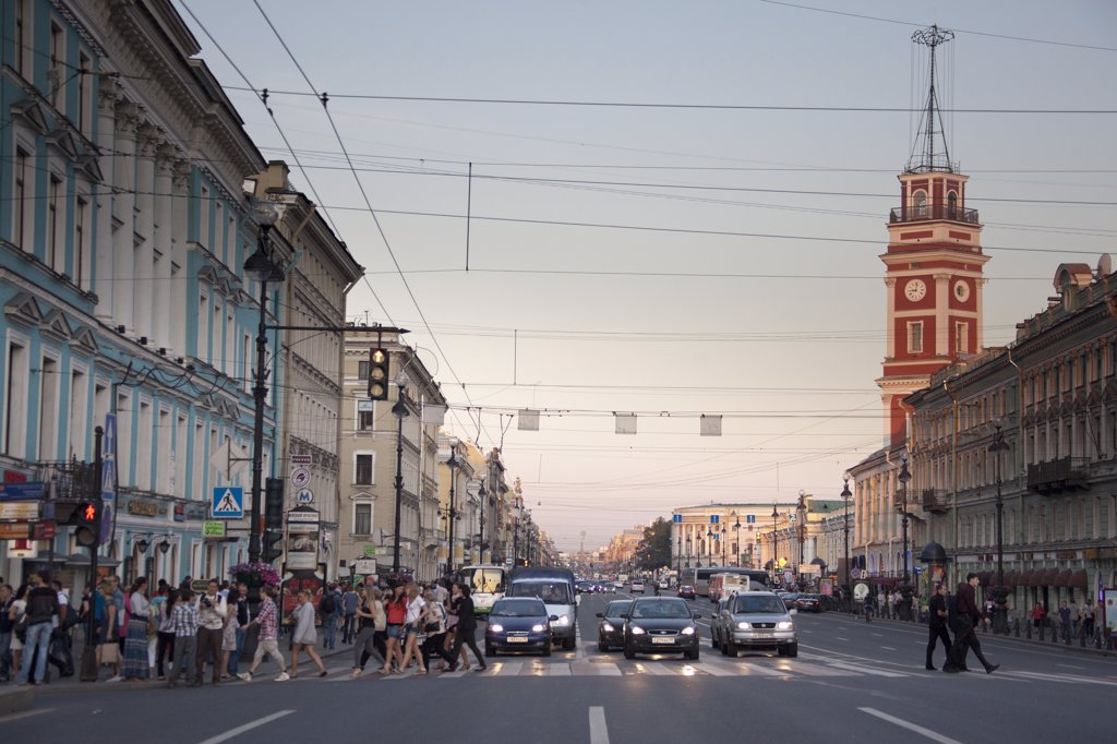 Stock Photo: 1606-157012 Rusia , San Petersburg City, Nevsky Prospect Avenue. and Church of the Savior on Spilled Blood