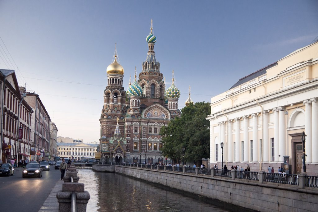 Stock Photo: 1606-157014 Rusia , San Petersburg City , Church of the Savior on Spilled Blood and Gribodeyova Canal