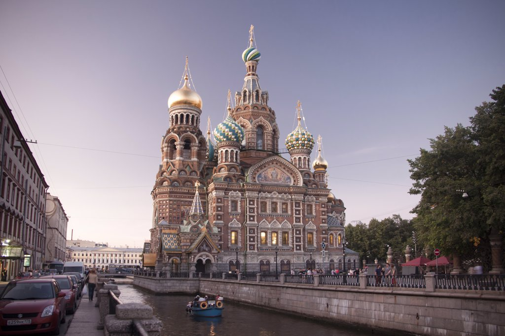 Stock Photo: 1606-157016 Rusia , San Petersburg City , Church of the Savior on Spilled Blood and Gribodeyova Canal