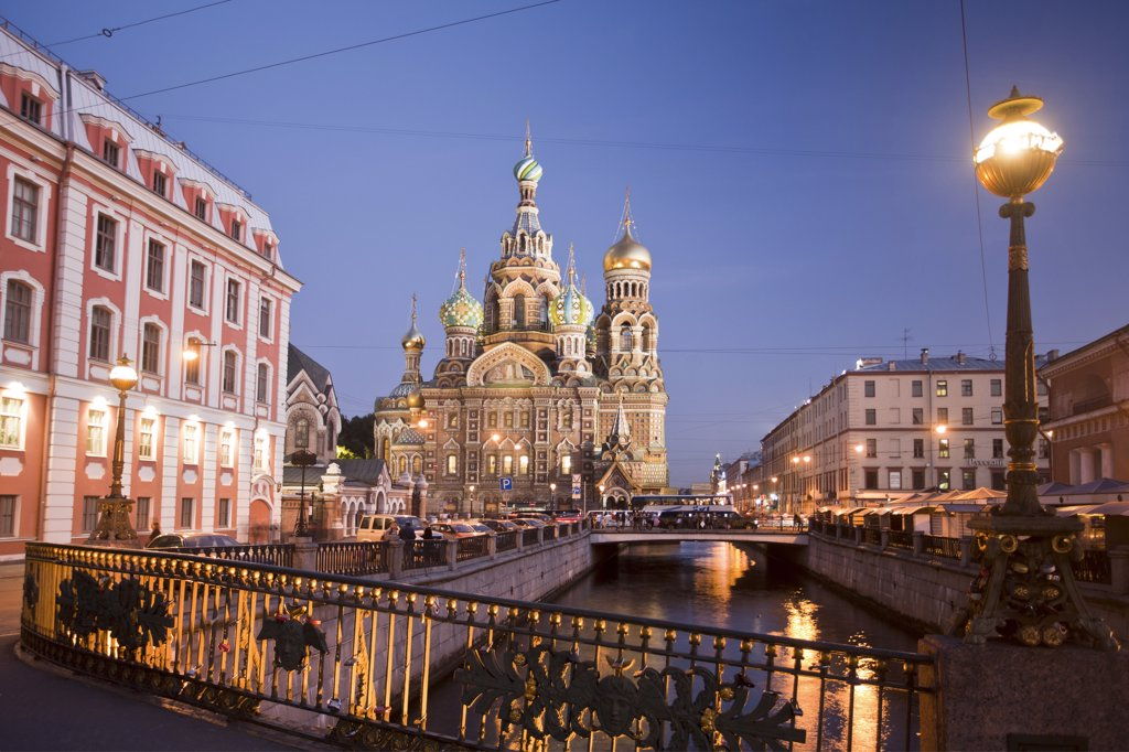 Rusia , San Petersburg City , Church of the Savior on Spilled Blood and Gribodeyova Canal : Stock Photo