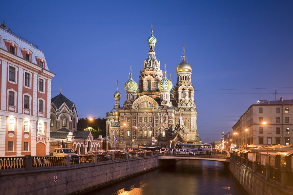 Stock Photo: 1606-157022 Rusia , San Petersburg City , Church of the Savior on Spilled Blood and Gribodeyova Canal