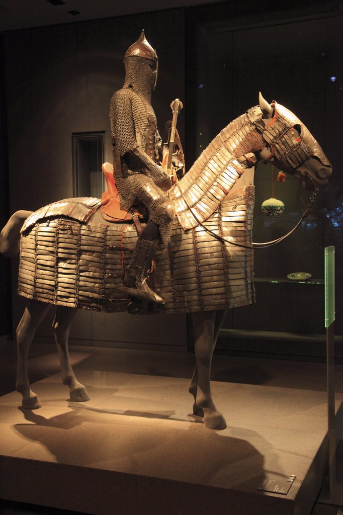 Qatar, Doha, Museum of Islamic Art, armour for horse and rider, : Stock Photo