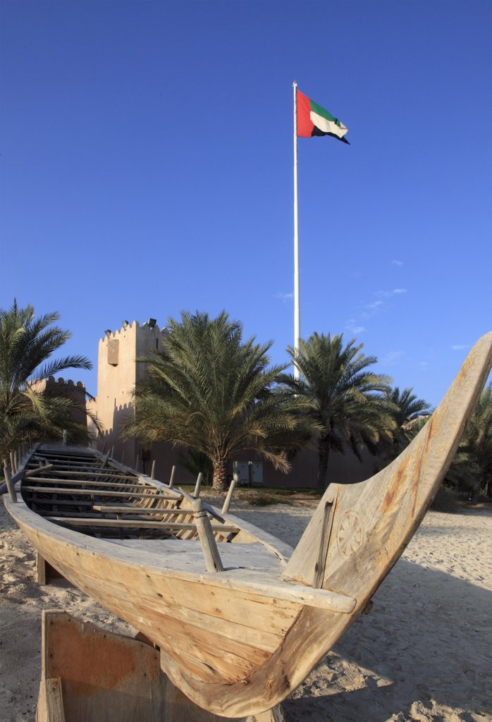 Stock Photo: 1606-157751 United Arab Emirates, Abu Dhabi, Heritage Village, traditional boat,