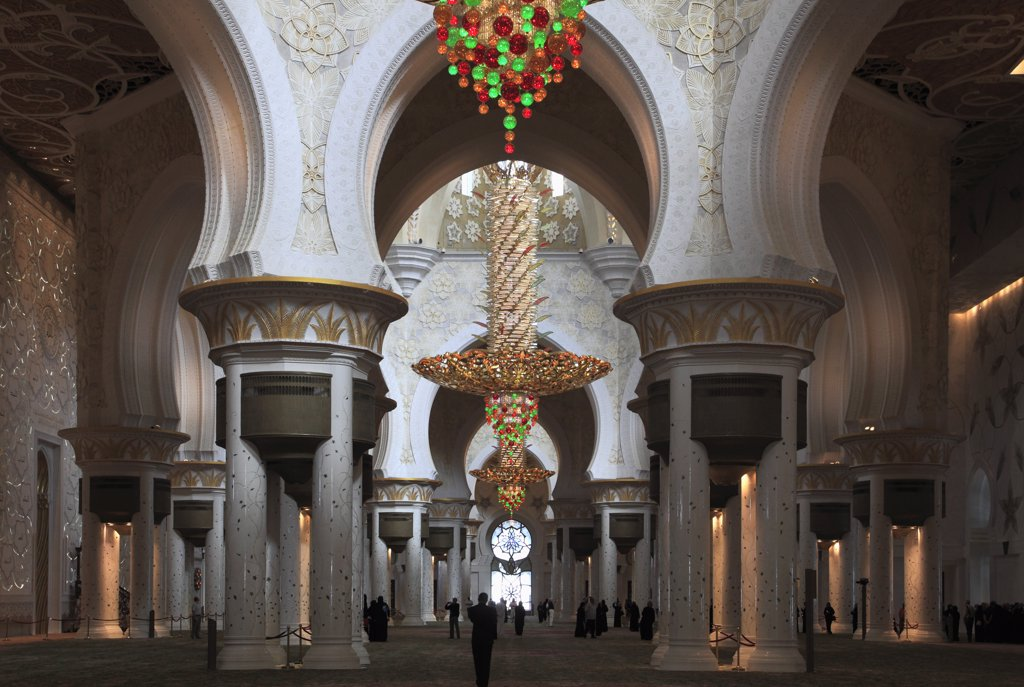 United Arab Emirates, Abu Dhabi, Sheikh Zayed bin Sultan al-Nahyan Mosque, interior, : Stock Photo
