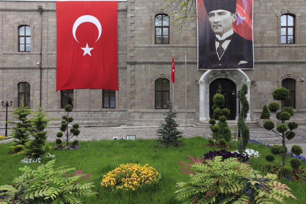 Turkey, Ankara, Governorate, Turkish flag, Ataturk image, : Stock Photo