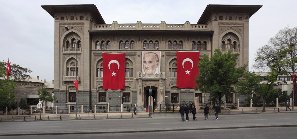 Stock Photo: 1606-158365 Turkey, Ankara, Ziraat Bank, Ataturk image, Turkish flags,