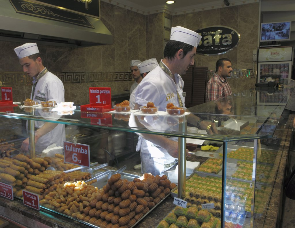 Stock Photo: 1606-158658 Turkey; Istanbul; Spice Bazaar, Egyptian Market, pastry shop,