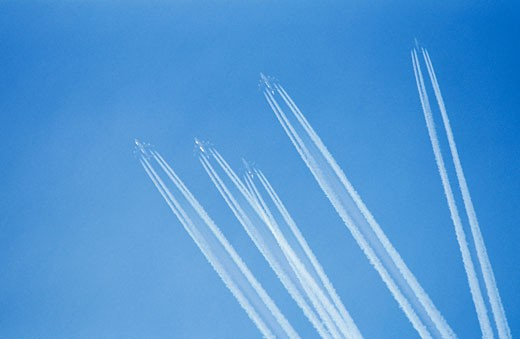 Five planes in blue sky : Stock Photo