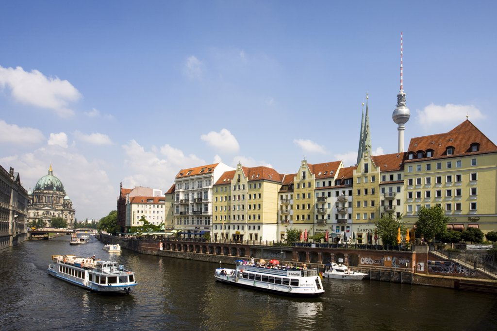Germany , June 2009 Berlin City Nicolai District, the Cathedral and Televisoin tower : Stock Photo
