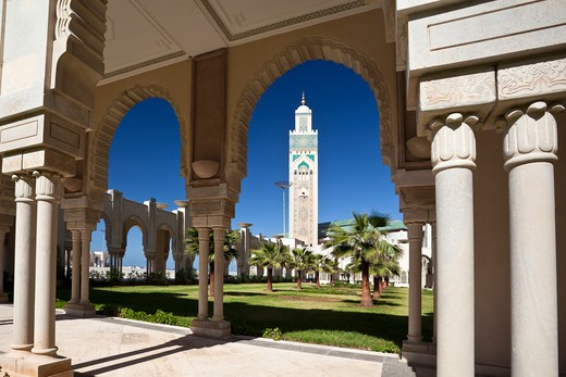 Stock Photo: 1606-159671 Morocco-Casablanca City-Hassan II Mosque-Tallest Minaret in the world (210 m.)